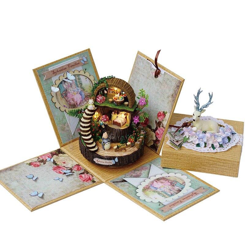 Bricolage cerf Kitty boîte à musique Rotation avec résine légère en bois Anime boîte à musique cadeau d'anniversaire cadeau pour petite amie carrousel boîte à musique