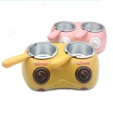 Двойной Электрический Шоколадный фонтан 250*2 мл емкость фондю горячего шоколада расплава горшок плавильная машина желтый/розовый 1 шт. Горячая