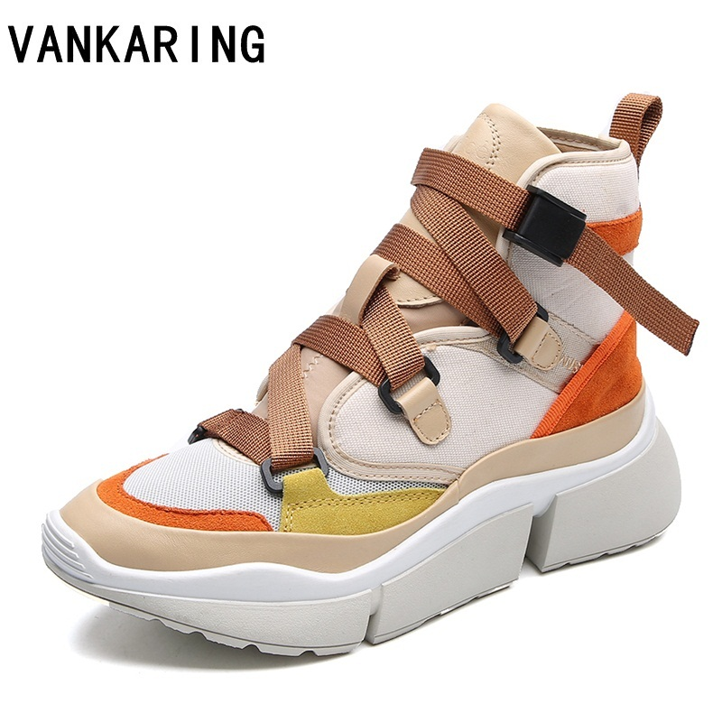 VANKARING women flat high shoes breathable ladies fashion sneakers platform women flats casual espadrille ankle boots for women embroidered letter striped espadrille flats