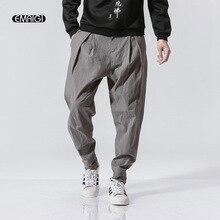 Men Cotton Linen Loose Casual Harem Pant Embroidery Cross Trousers Jogger Sweatpants