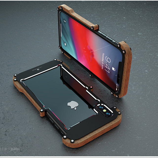 best loved d42f5 cfc69 US $14.79 26% OFF|Phone Case For iPhone XS Max Original R Just Wood Bumper  Metal Case For iPhone XS XR Aluminum Frame Phone Cases Accessories-in Phone  ...