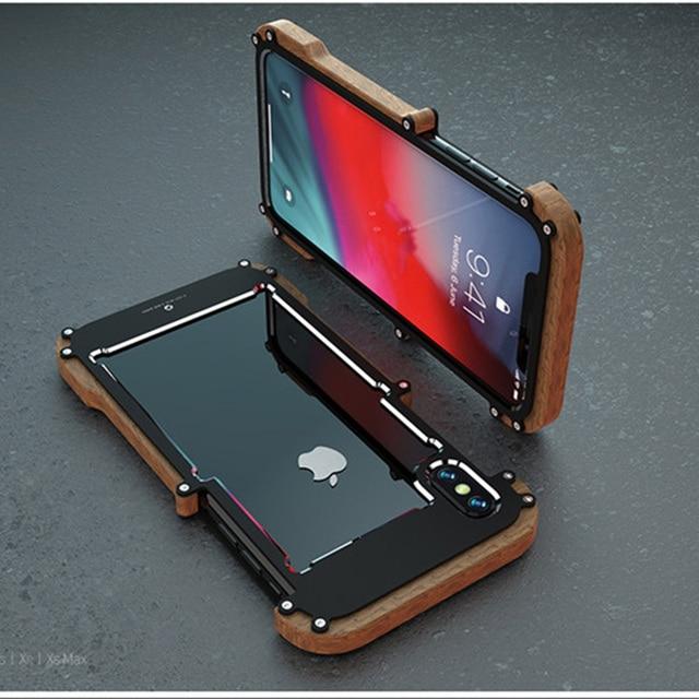 Telefon kılıfı için iPhone XS Max orijinal r just ahşap tampon Metal kasa iPhone XS için XR alüminyum çerçeve telefon kılıfları aksesuarları