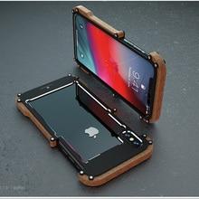 아이폰 XS max에 대 한 전화 케이스 아이폰 XS xr에 대 한 원래 R 그냥 나무 범퍼 금속 케이스 알루미늄 프레임 전화 케이스 액세서리