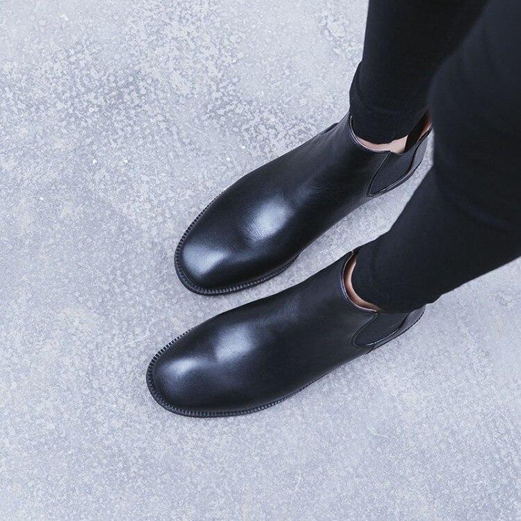 Chaussures 2018 En Femmes Nouveaux Chelsea De D'équitation Hiver Appartements Réel Botas Noir Vache marron Cheville {zorssar} Mujer Bottes Plat Chaudes Cuir vBO5zqw