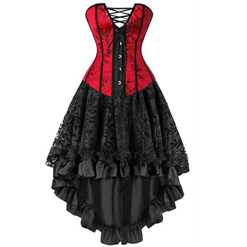 Sexy Corsets Dresses Plus Size Costume Overbust Burlesque Corset And Skirt Lingerie Set Tutu Corselet Victorian Fashion Red