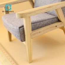 1/6 Scale BJD Single Sofa Dollhouse Miniature 12th Wooden Furniture Couch For 12 Inchs Mini Dolls Decoration
