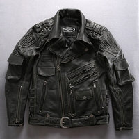 ANGEL Male Motorcycle Leather Jackets thick cowhide Winter Coats S 4XL