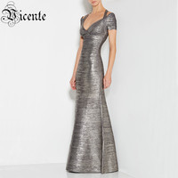 Free Shipping! Elegant Grey Halter Oil Print Short Sleeves Flared Bottom Gown HL Celebrity Maxi Long Bandage Dress