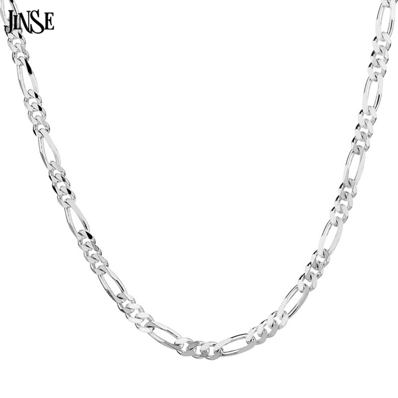 JINSE NEC007 Figaro Chain Necklace Men or Women for Christmas Gift Silver Plated Necklace Jewelry Accessories 2mm Wholesale in Chain Necklaces from Jewelry Accessories