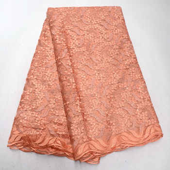African Lace Fabric 2018 Coral Red Gold Embroidered Nigerian Laces Fabric High Quality French Tulle Lace Fabric for Women QG536