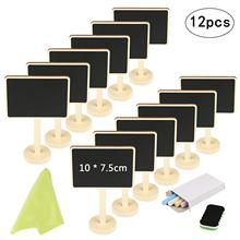 METABLE Mini Chalkboard 12 Pcs Blackboard with Stand for Party Wedding Table Number Message Board Signs.