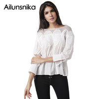Ailunsnika Blusas Mujer Top Women Blouses 2017 Summer Long Sleeve White Shirts Hollow Out O Neck