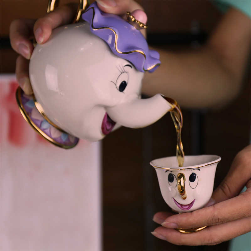 Горячая Распродажа, чайник с рисунком красавицы и чудовища, кружка Mrs Potts Chip, чайник, один набор, хороший рождественский подарок, бесплатная доставка
