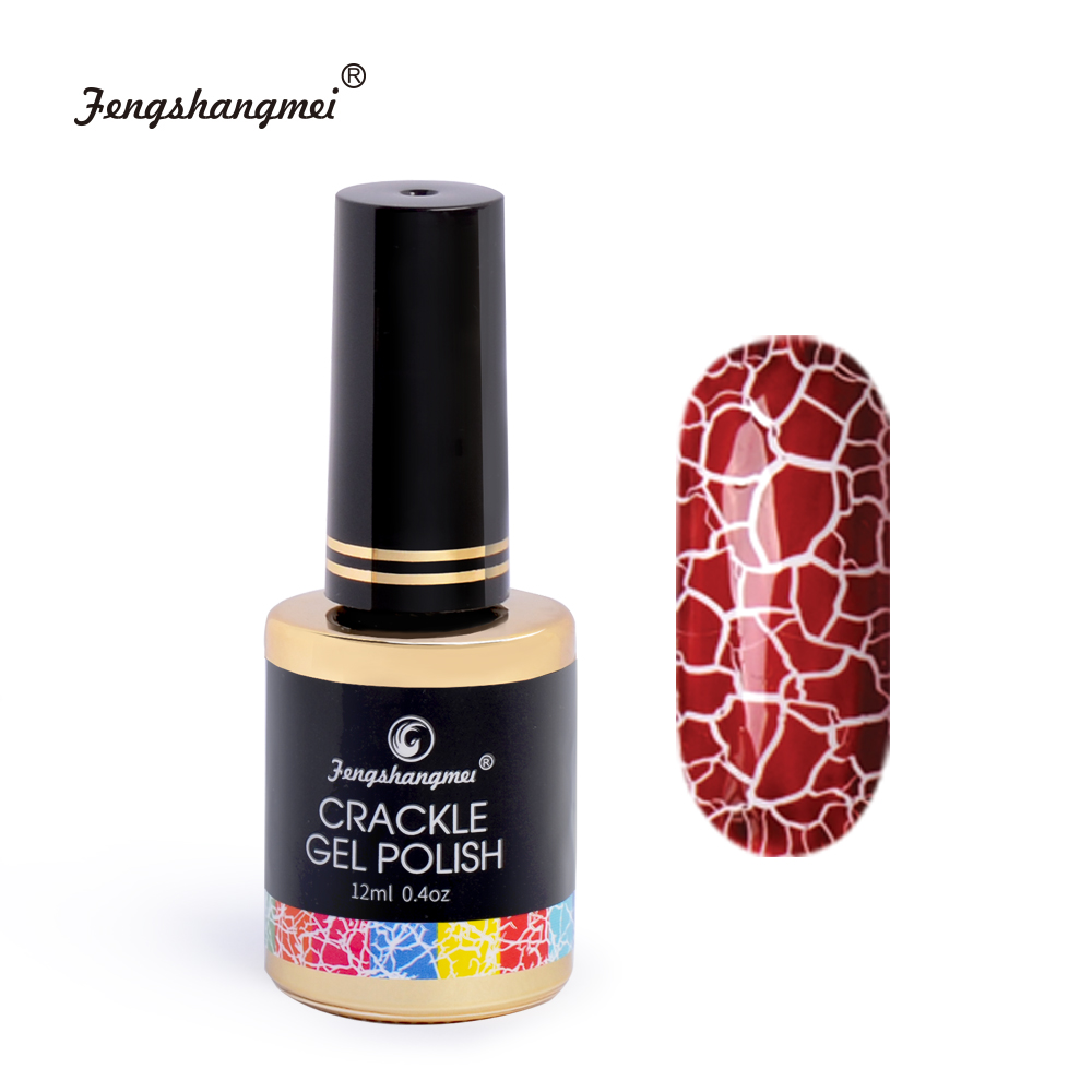 fengshangmei 12ml Crackle Nail Gel Polish Manicure Art Design Gel Lacquer for Nails Led UV Cracked Gel Varnish mild s peelable nail polish 12ml blue