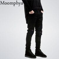 2016 New Black Ripped Jeans Men With Holes Denim Super Skinny Famous Designer Brand Slim Fit