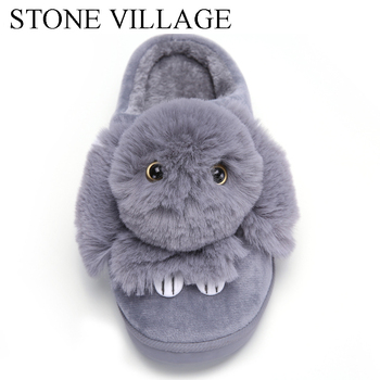 High Quality Women Slippers Lovely Rabbit Animal Prints Solid Flat Indoor Shoes Winter Plush Warm Home Slippers Size 36-43 3