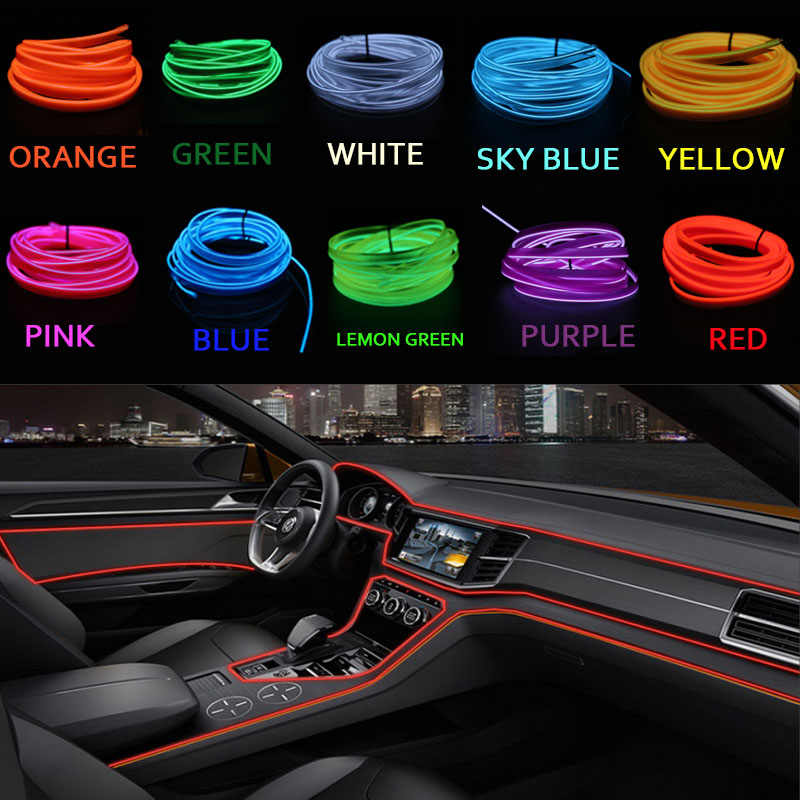 Car decor 12V lighter LED Lamp Strip thread sticker decals tags accessory Flexible Neon Light EL Wire Rope Tube 1m 2m 3m 4m 5m