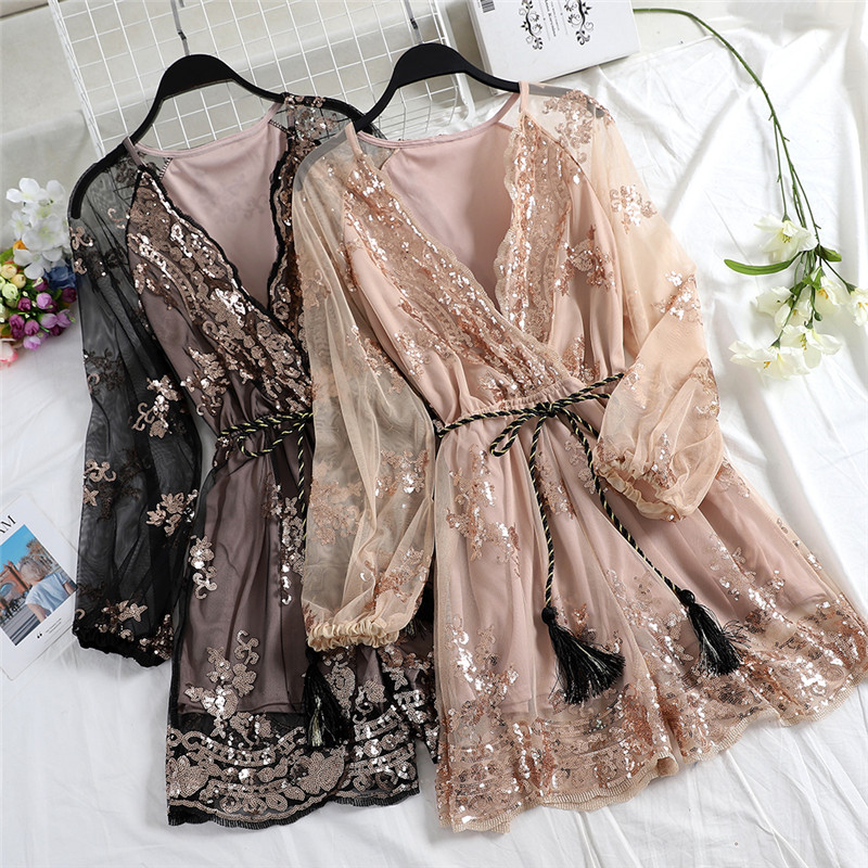 Spring Tie Bow V-Neck Sequined Playsuits Women Bodycon Floral Embroidery Jumpsuits Female Long Sleeve Mesh Rompers Bodysuit 1275