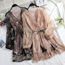 Spring Tie Bow V Neck Sequined Playsuits Women Bodycon Floral Embroidery Jumpsuits Female Long Sleeve Mesh