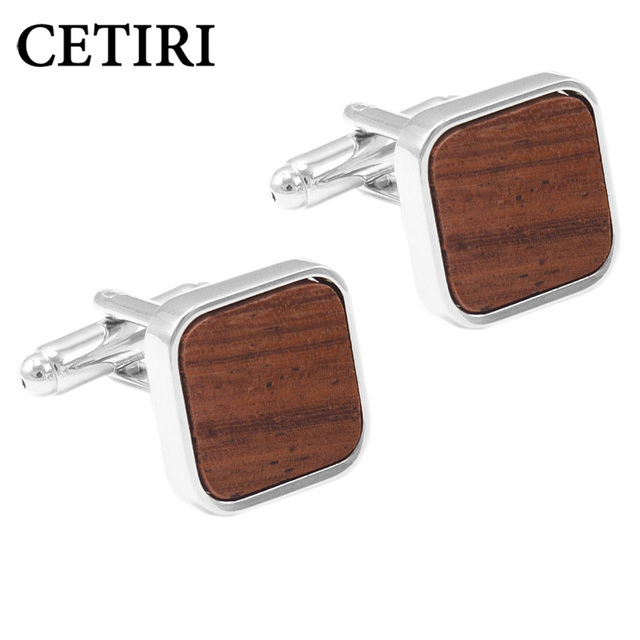 8e6dc45c7e49 CETIRI Wood Cufflinks Luxury Mens Cufflinks Brand Jewelry Square Brown  Mashup Fashion Business Cuff Links With