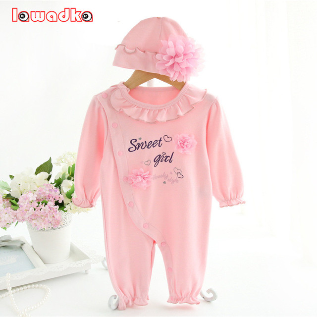 Princess Style Newborn Baby Girl Clothes Kids Birthday Dress Girls Rompers+Hats Baby Clothing Sets Infant Jumpsuit Gifts