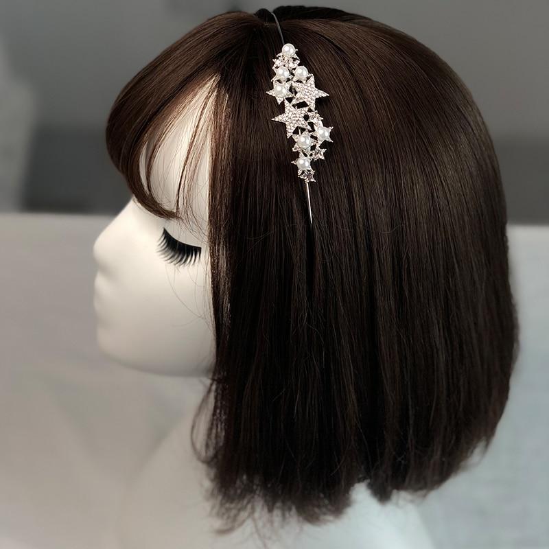 CHIMERA Crystal Pearl Star Hair Hoop Simple Wedding Bridal Headband Elegant Silver Metal Bands Accessories for Women