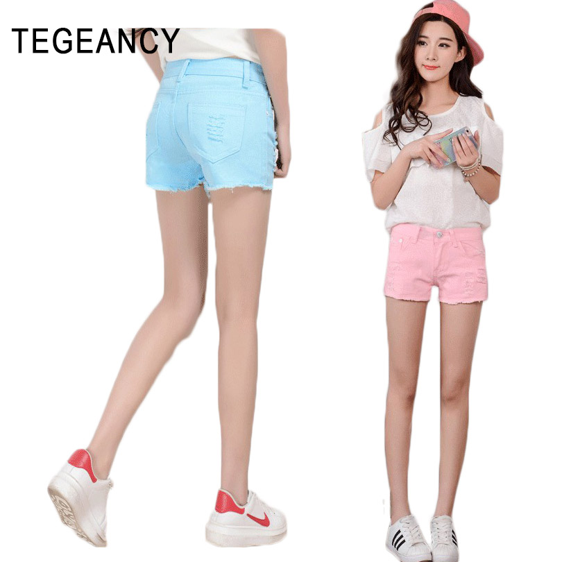 tegeancy women hole denim shorts female kawaii candy color cotton short jeans femme large size. Black Bedroom Furniture Sets. Home Design Ideas