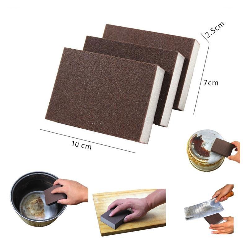 1 pçs esponja de limpeza marrom para lavar louça cozinha banheiro ferrugem removendo nano emery limpo melamina borracha mágica esponja diy e