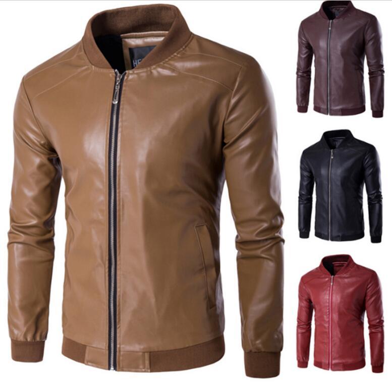 locomotive Leather Jackets Men's jacket male Outwear Men's Coats Spring & Autumn PU Jacket De Couro Coat Plus Size M-4XL