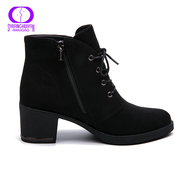 Ankle Boots Suede Leather Short Booties Lace Up Boots Women With Fur Shoes 2