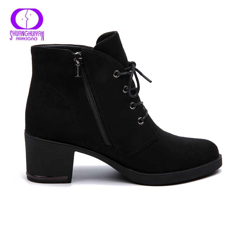 AIMEIGAO ใหม่ฤดูใบไม้ผลิฤดูใบไม้ร่วงผู้หญิงข้อเท้ารองเท้าหนังนิ่มหนังสั้นรองเท้า Lace Up รองเท้าผู้หญิงขนสัตว์รองเท้า 2018 ใหม่สินค้า