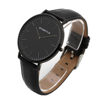 Quartz Stainless Steel Magnet Black Real Leather Strap Women Watches Ultra Super Thin Men Waterproof Luxury