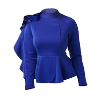 Fashion Women Blue Shirts Tops Ruffle Patchwork Stand Collar Blouses Long Sleeve Ladies Office Elegant Modern