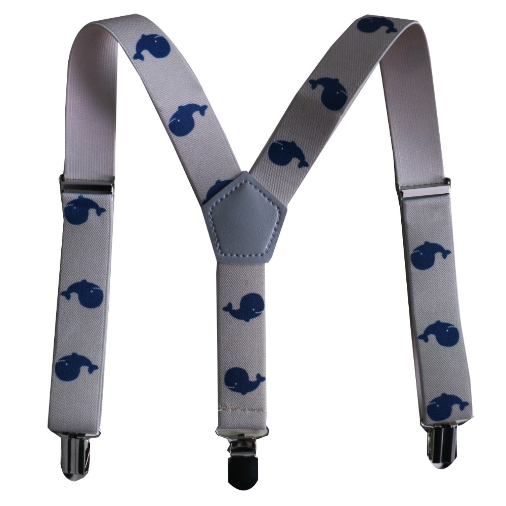 Free Shipping 2019 New Design Boys Beige Whale Suspenders For Children Kids