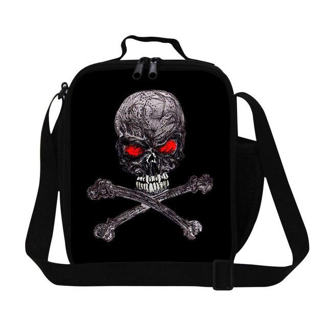 2016 Моды Череп Lancheira Дети Обед Мешок Изолированные Мешок Еды Маленькие Мужские Тепловой Изоляции Lunchbag Lunch Box Bolsa Termica