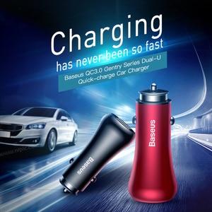 Image 2 - Baseus qc 3.0 carregador rápido turbo usb carregador de carro 3.0 duplo usb metal carro carregador do telefone móvel para iphone samsung huawei carregador