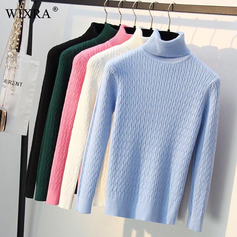 Wixra femmes chaud chaud chandails automne hiver pull à col roulé toutes les bases Match solide chandails pull pour les femmes