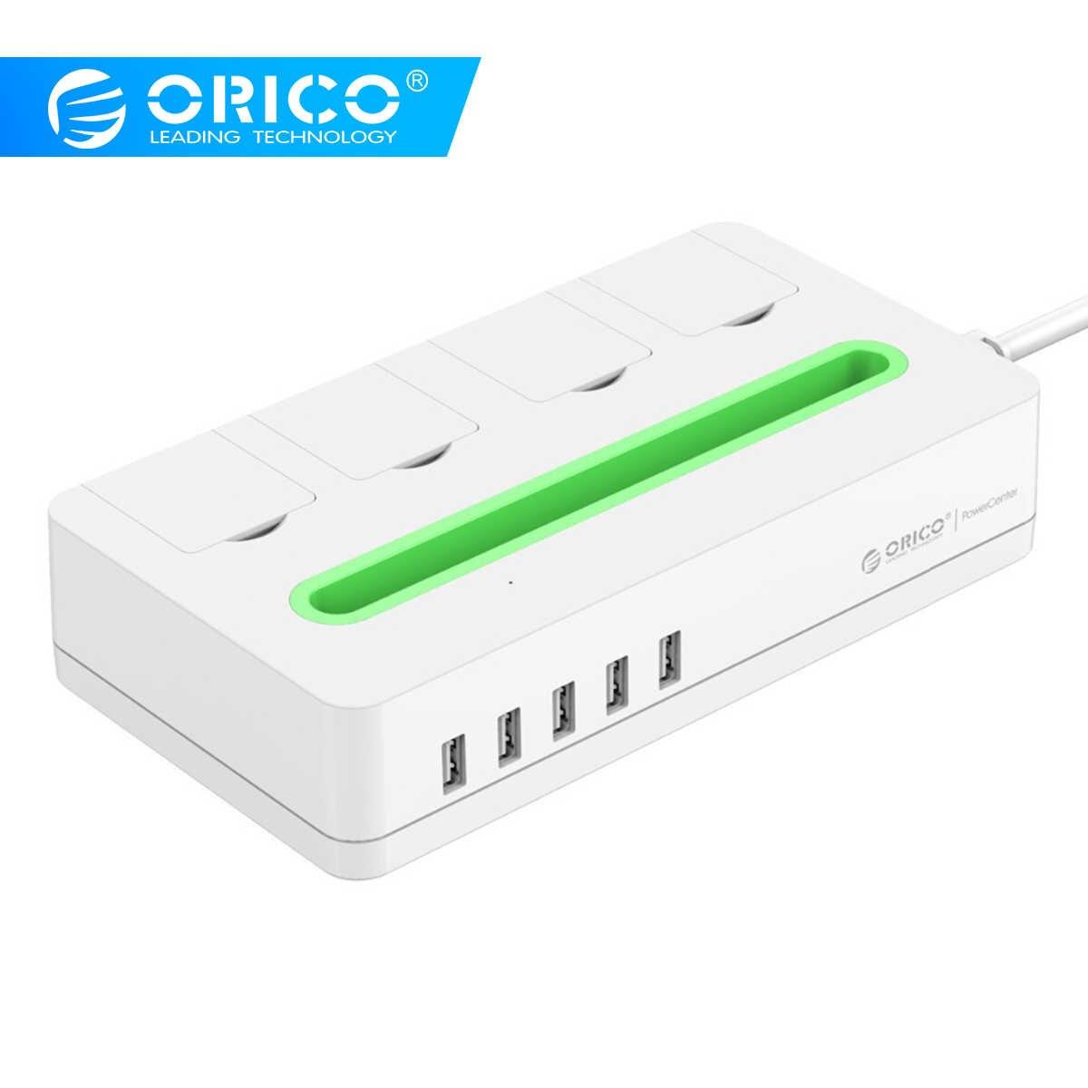 Orico gniazdo listwy zasilającej z 5 Port USB biuro w domu elektronika US wtyczka Surge Protector z uchwytem na telefon