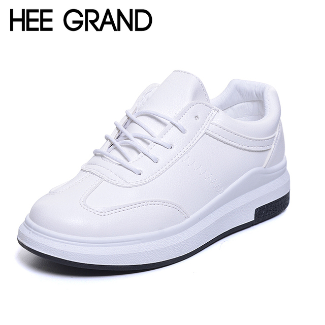 HEE GRAND Women Spring Shoes Lace-up White Black All-match Simple Casual Vulcanize Shoes For Woman XWC1089