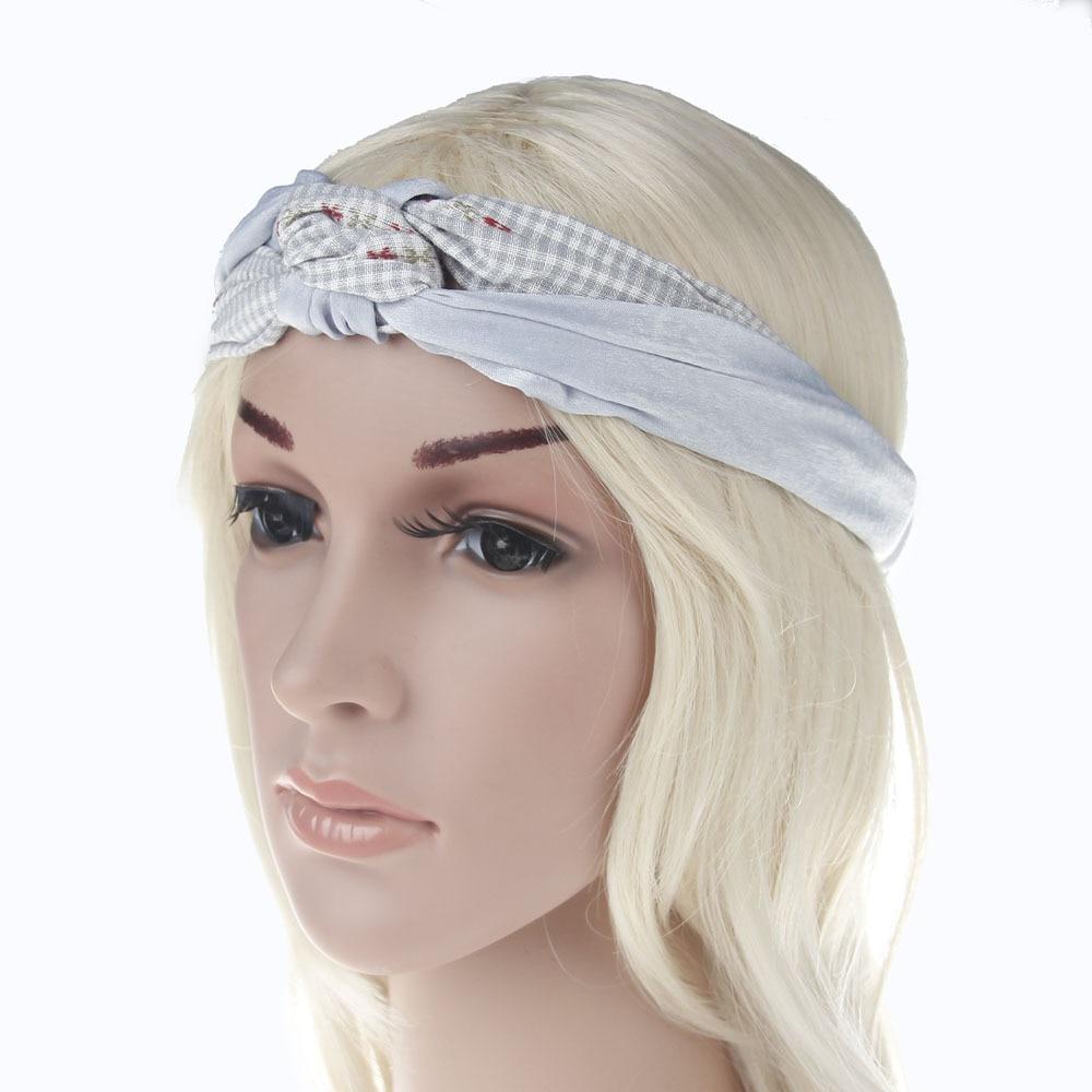 Plaid Floral Print Elastic Linen Turban Headband for Women Hair Accessories  Cool Girls Headwear Sport Headbands Head Wrap Band 446e1c18448