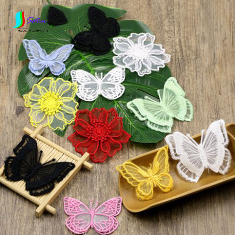 Nice Black And White Lace Embroidered Cloth Stickers Diy Transparent Mesh Butterfly Organza Decorative Patch Stickers Clothes S078m With A Long Standing Reputation Home & Garden