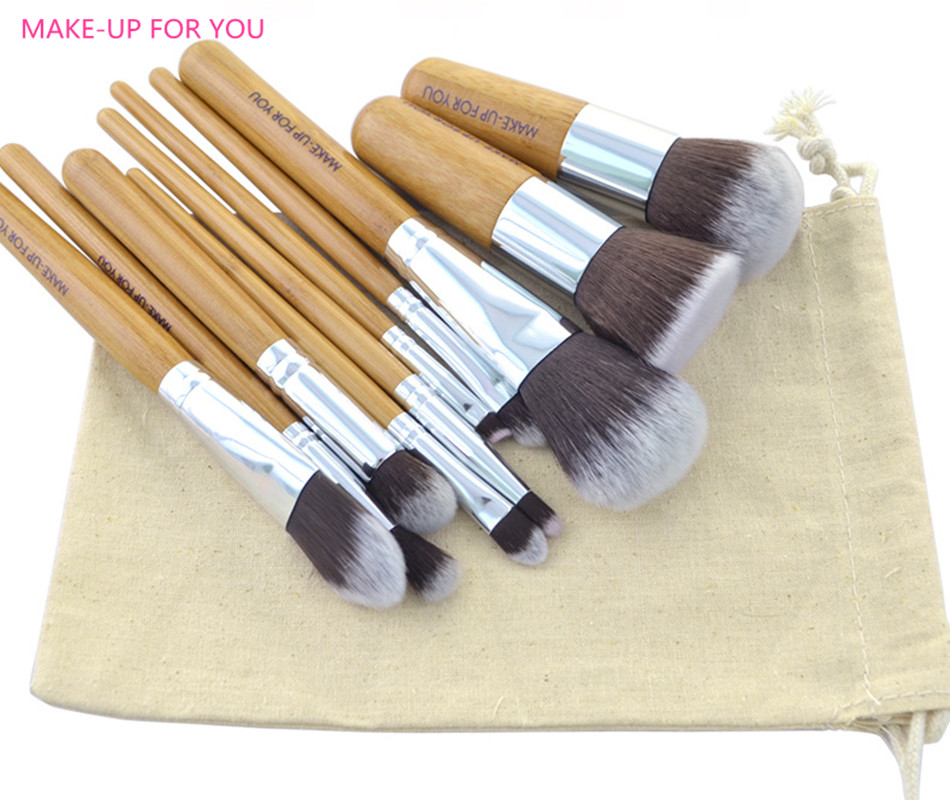 10pcs Natural Bamboo Professional Makeup Brushes Set Foundation Blending Brush Tool Cosmetic Kits Makeup Set Brusher