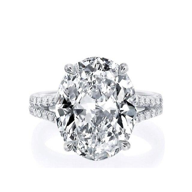 Женское Обручальное Кольцо LESF, роскошное серебряное кольцо с разрезом и овальным вырезом, 9 карат, с большим камнем и цирконием, для свадьбы, ...