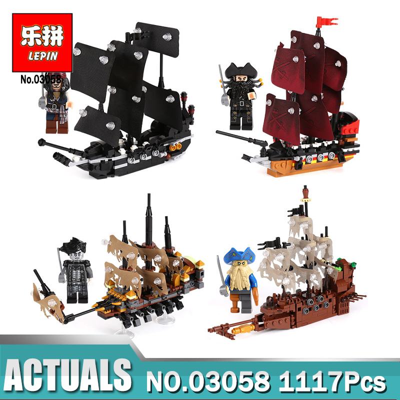 Lepin 03058 The 4 In 1 Black Pearl Queen Anne's Revenge Silent Mary Ship Set compatible Legoing building Blocks Brick Ship Toys 8 in 1 military ship building blocks toys for boys