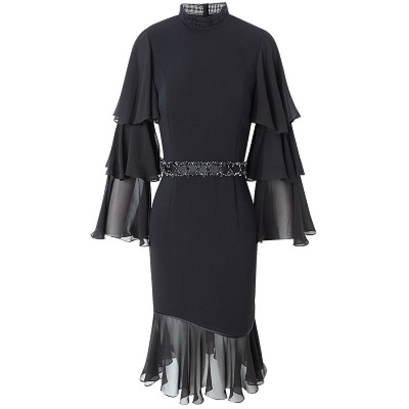 Spring 2019 new Flare Sleeve Office Lady Chiffon dress Women sexy Party Dress black Plus Size High street Ruffles dresses summer-in Dresses from Women's Clothing    3