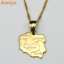Anniyo map polska necklace pendants for women gold color jewelry map of poland chain fashion #004010(China)