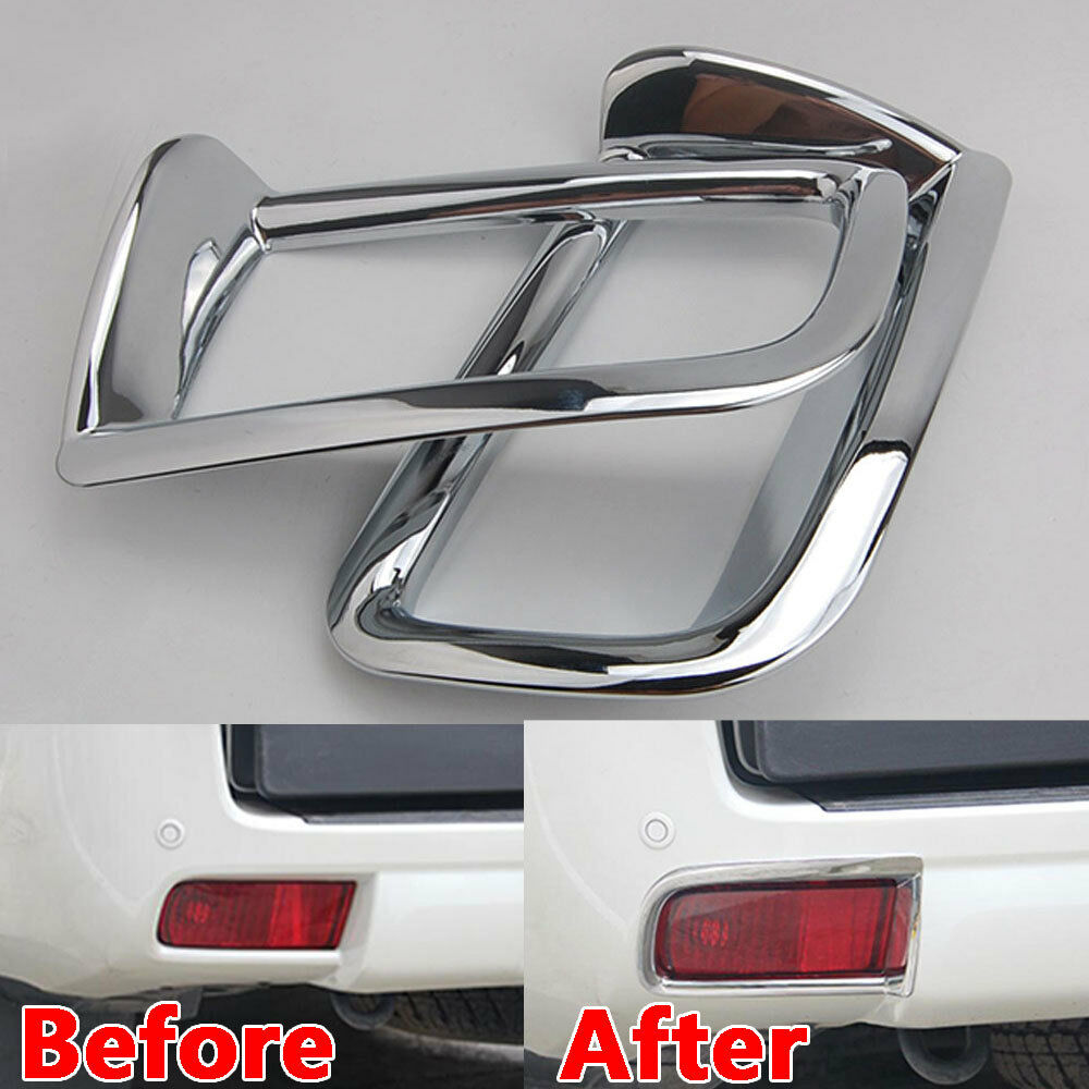 Car Styling Accessories 2pcs Rear Tail Fog Light Lamp Cover Trim For <font><b>Toyota</b></font> <font><b>Land</b></font> <font><b>Cruiser</b></font> <font><b>Prado</b></font> <font><b>FJ150</b></font> 2014 2015 image