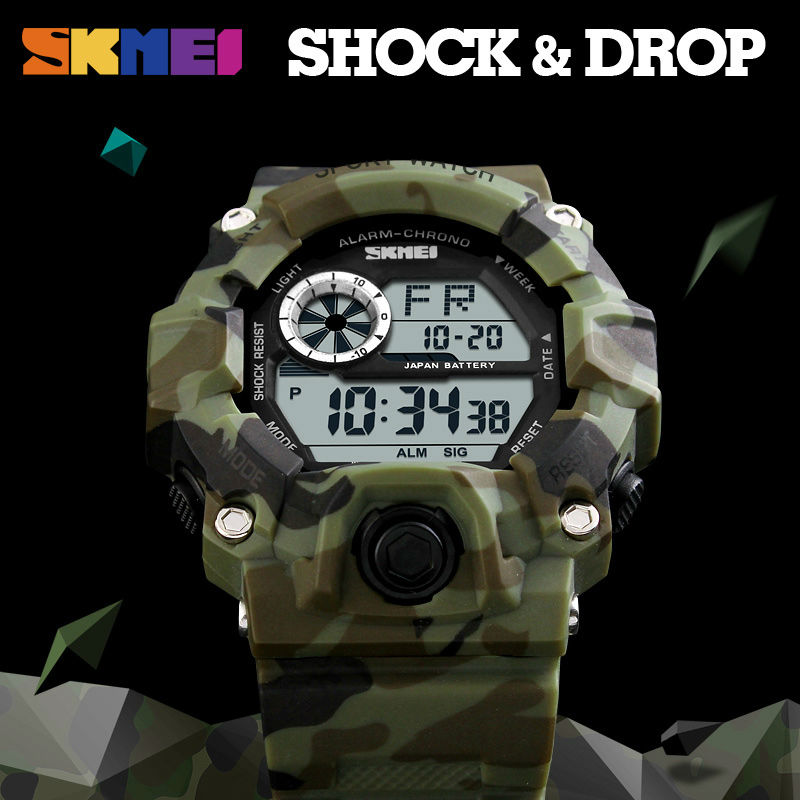 <font><b>SKMEI</b></font> Sports Military Army Camouflage Watches Men Alarm Waterproof Watch LED Shock Resist Digital Wristwatch Relogio Masculino image