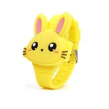 Детские часы с 3D рисунком кролика, детские часы для девочек, светодиодный, цифровые наручные часы с силиконовыми ремешками, часы с животными, Relogio Feminino