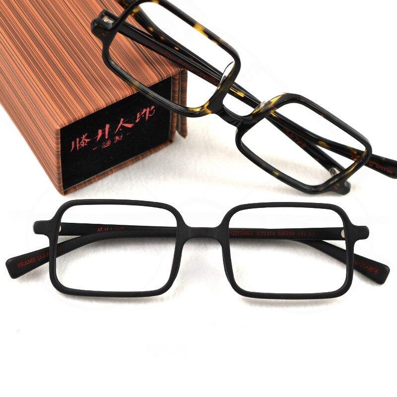 Vintage Square Wooden Women Men Amber Black Acetate Clesr Lens Optical Eye Glasses Frame Handmade Retro Street Style Eyewear